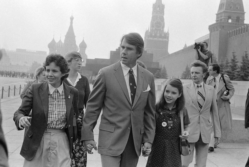 Samantha Smith, with her parents Arthur and Jane Smith, touring Red Square in Moscow on, July 9, 1983. Samantha wrote a letter to Soviet leader Yuri Andropov asking about peace between the US and Andropov wrote back to Samantha and invited her and her parents to visit the Soviet Union