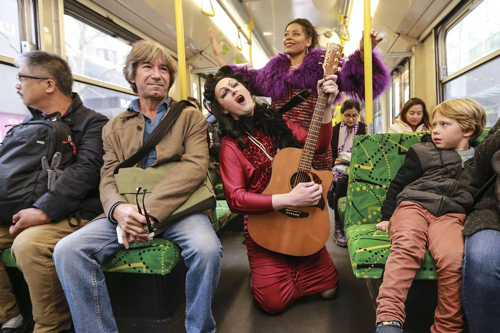A pop up performance of the 400-year-old opera 'The Coronation of Poppea' by Italian composer Claudio Monteverdi, on a tram in Melbourne, Victoria, Australia, July 13