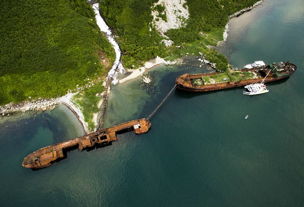 Abandoned ships in the Russkaya Bay of the Avacha Gulf in Kamchatka