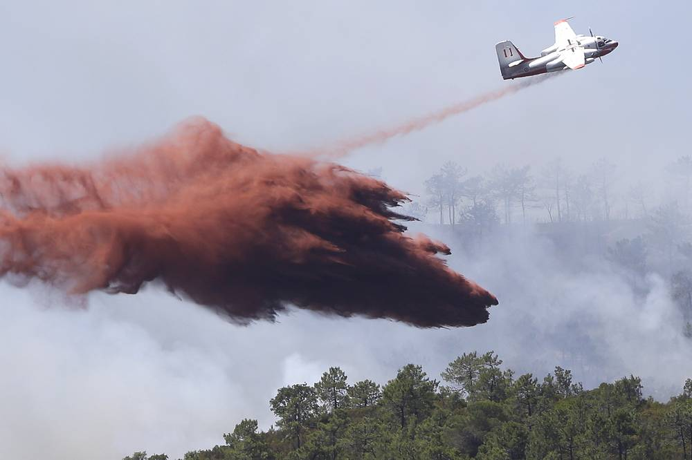 A firefighting plane drops fire retardant over a forest near La Londe-les-Maures on the French Riviera