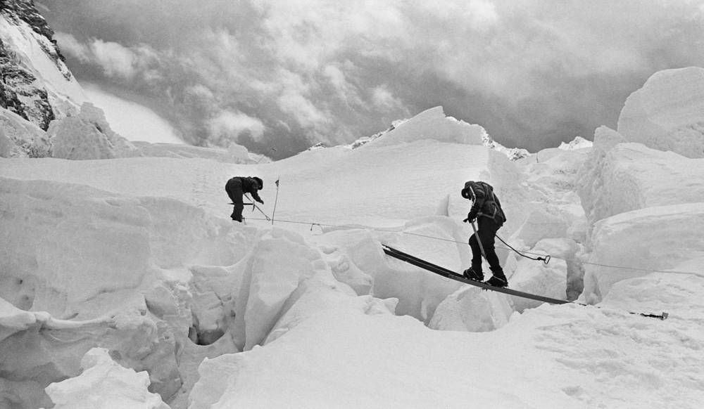 Soviet climbers crossing the Khumbu Glacier, 1982