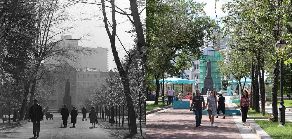 People walking in Tverskoy Boulevard in 1980 and in 2017