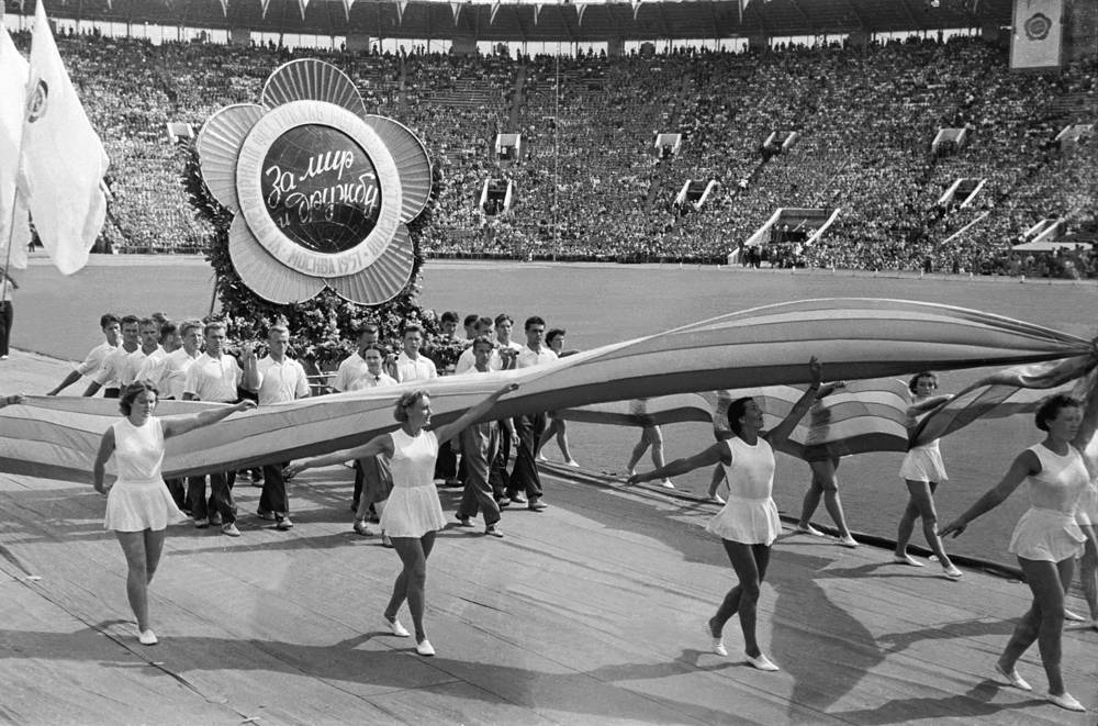 Opening of the 6th World Festival of Youth and Students in Moscow, 1957