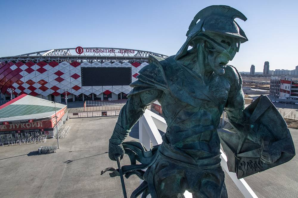 A sculpture of a Roman gladiator outside the Otkrytiye Arena Stadium in Moscow