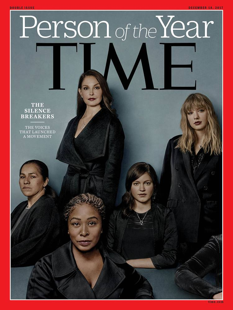 "Time magazine's 2017 Person of the Year is ""The Silence Breakers,"" those who came forward with their stories about being victims of sexual harassment"