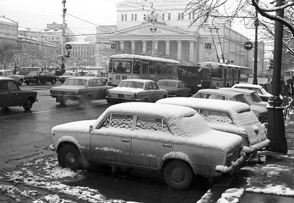 Snow covered cars near the Bolshoi Theatre in Moscow, 1974