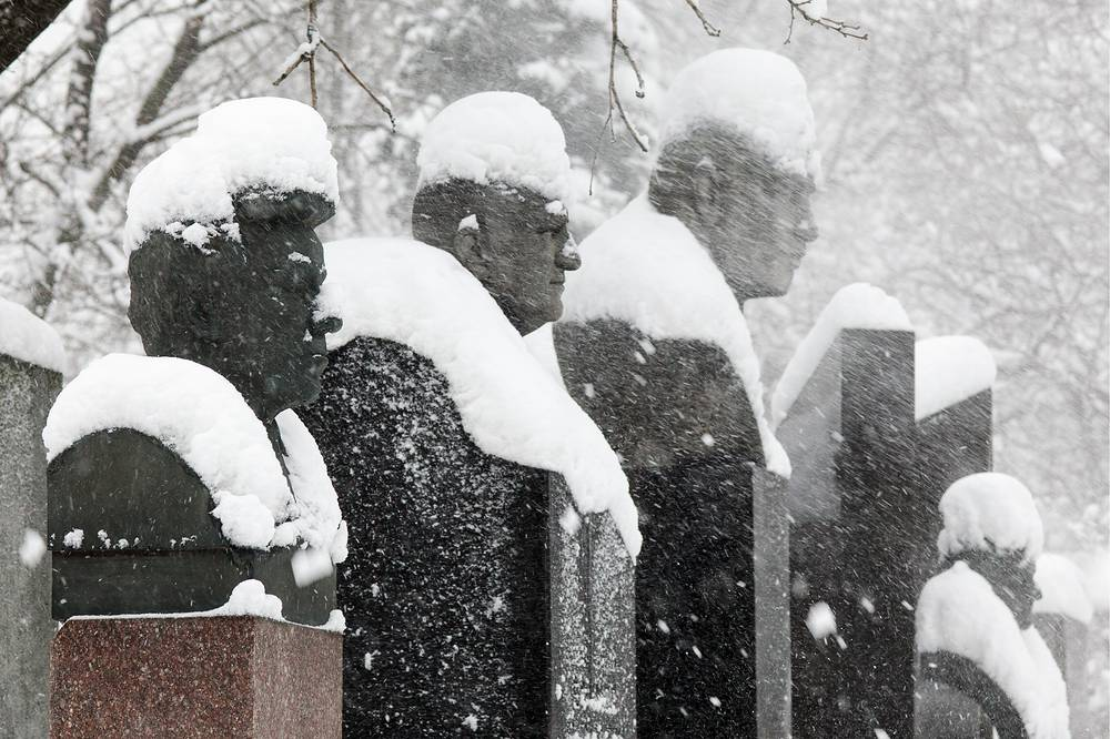 Memorial busts in Moscow's Novodevichy Cemetery