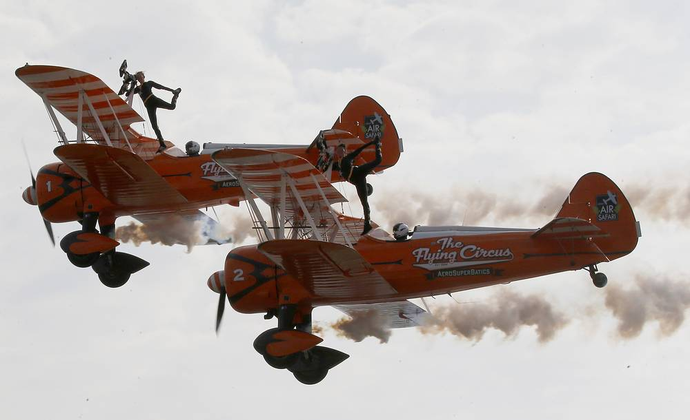 British female members of the Aerosuperbatics Wingwalkers, perform aerobatic stunts for the first time in the Philippines during 22nd International Hot Air Balloon festival, Clark, Philippines, February 8