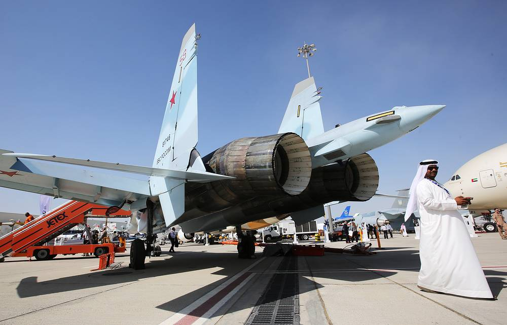 Sukhoi Su-35 fighter jet on display at the Dubai Airshow 2017