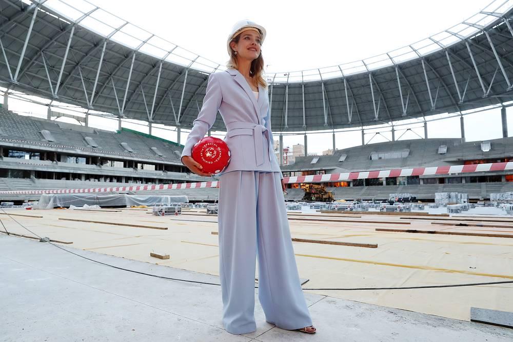 Natalia Vodianova also became 2018 FIFA World Cup Ambassador. Photo: Natalia Vodianova seen at Dynamo Stadium in Moscow
