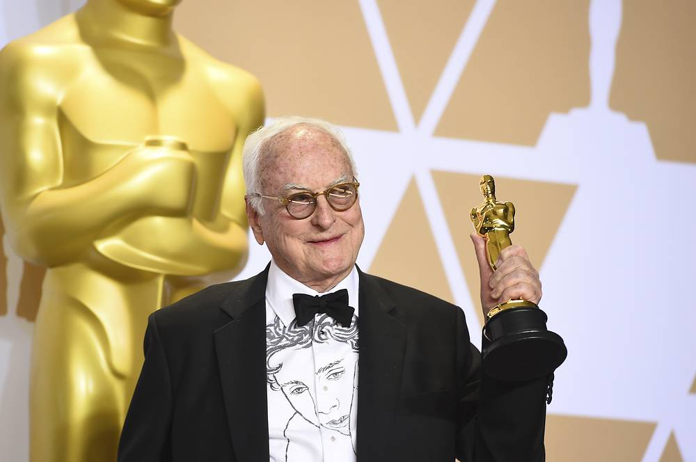"James Ivory, winner of the award for best adapted screenplay for ""Call Me by Your Name"""