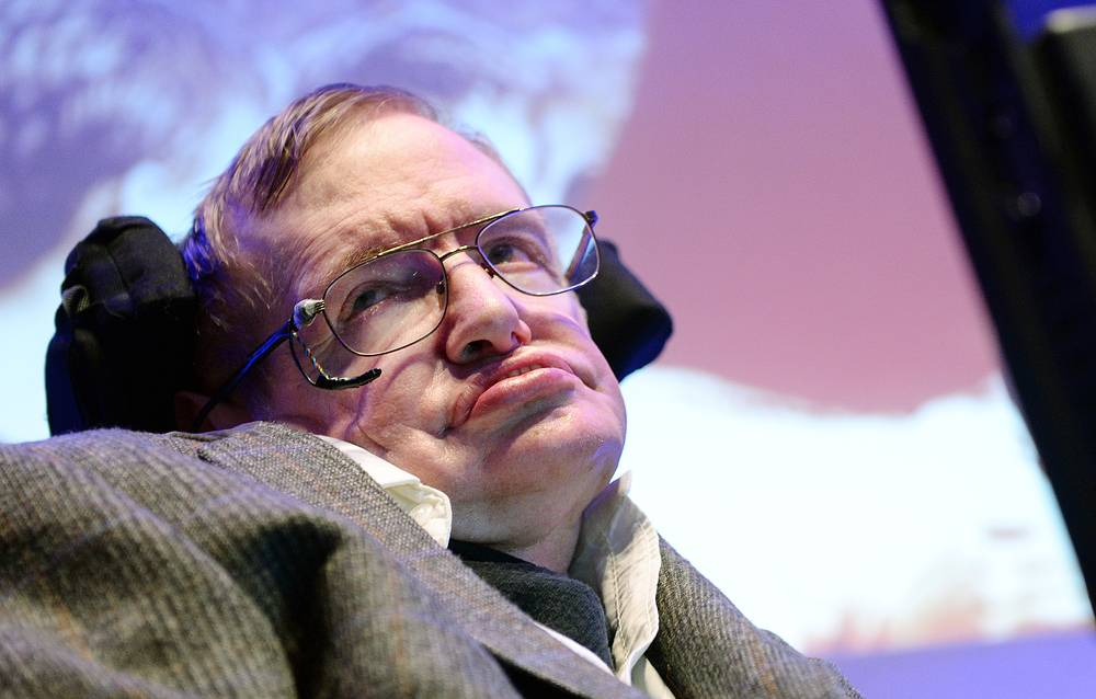 Professor Stephen Hawking speaks to the press in London, Britain, 2014