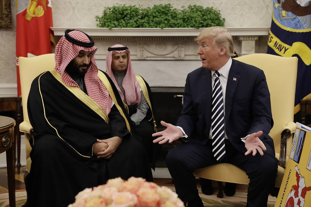 US President Donald Trump meets with Saudi Arabia's Crown Prince Mohammed bin Salman in the Oval Office of the White House, Washington, DC USA, March 20