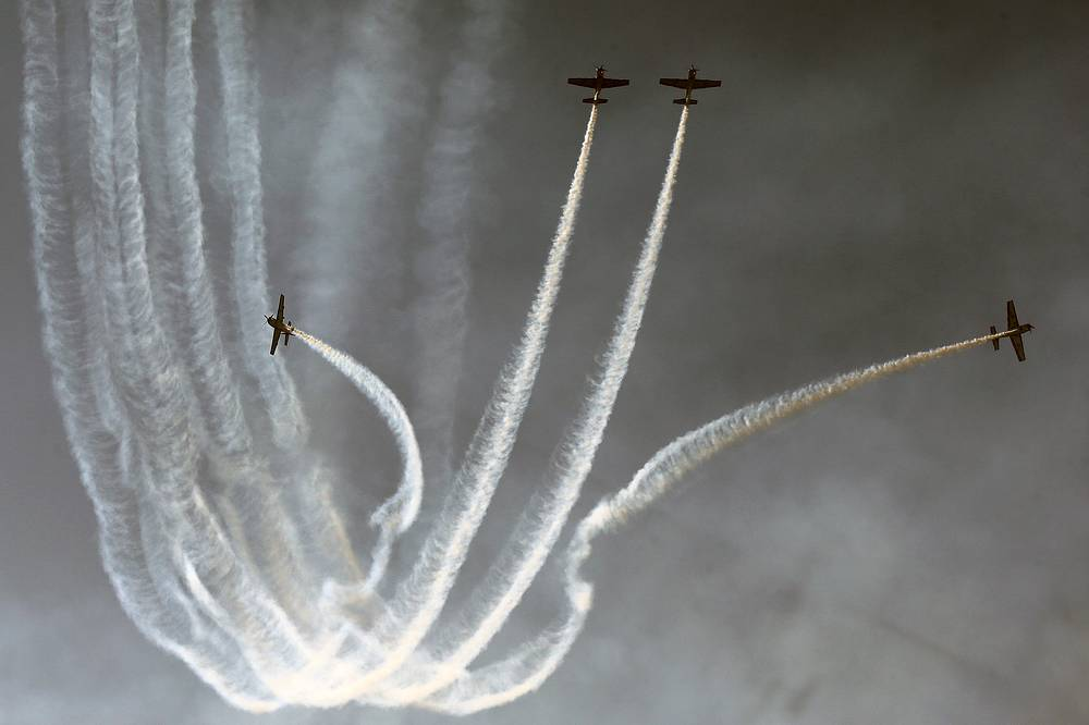 Aircraft of the group Halcones de Chile perform during the arms expo in Santiago de Chile
