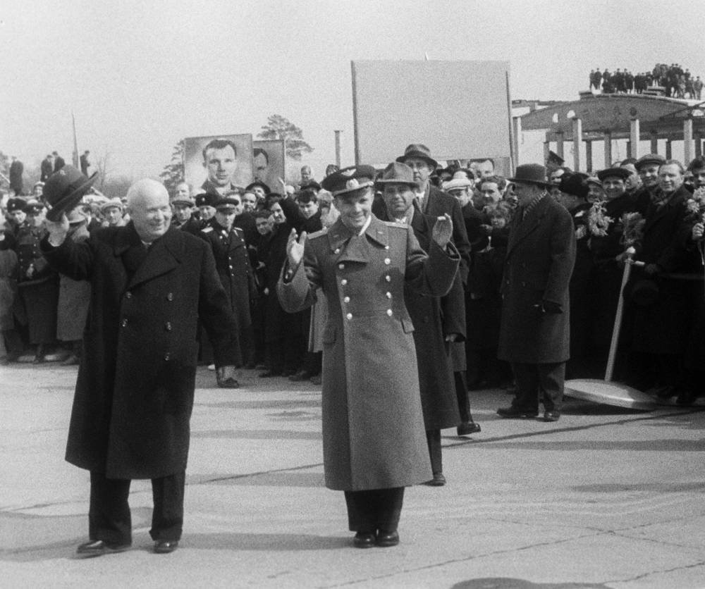 First Secretary of the Communist Party of the Soviet Union Nikita Khrushchev greets cosmonaut Yuri Gagarin at Vnukovo Airport, 1961