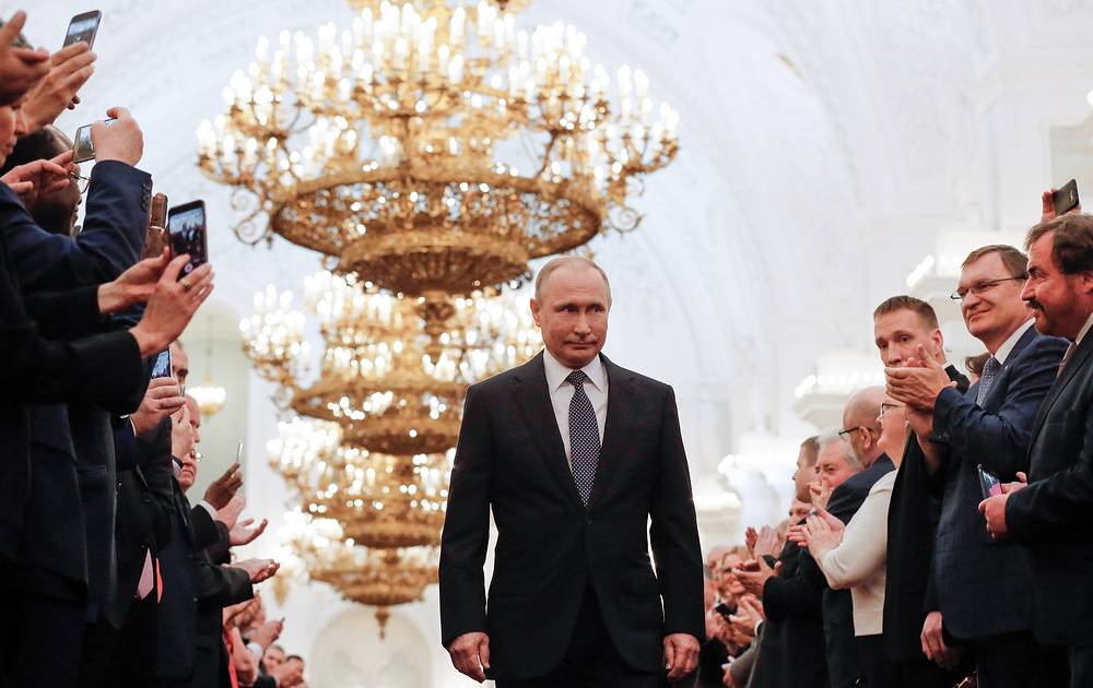 President-elect Vladimir Putin (C) ahead of being sworn-in as President of Russia in St Andrew's Hall of the Moscow Kremlin, May 7