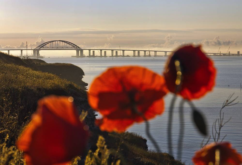 A distant view of Kerch Strait Bridge