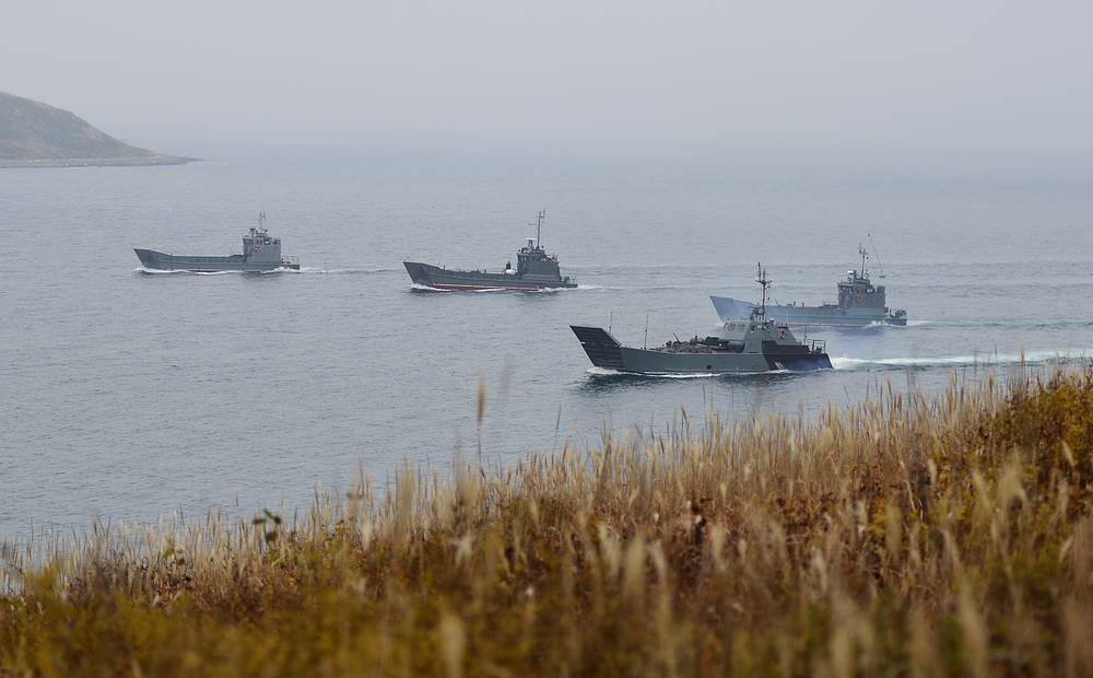 Landing crafts taking part in military drills conducted by marine regiments of Russia's Pacific Fleet, at Klerk firing range