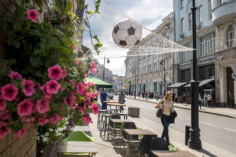 Moscow's Myasnitskaya Street decorated with a goal net and a soccer ball