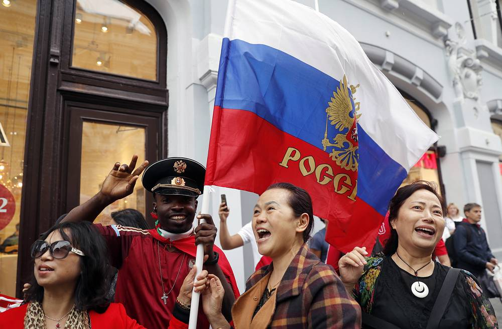 Football fans seen in Moscow's Nikolskaya Street