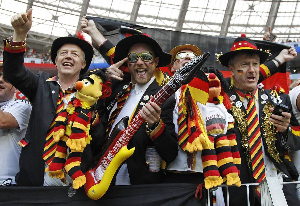 German football fans near the Luzhniki Stadium in Moscow