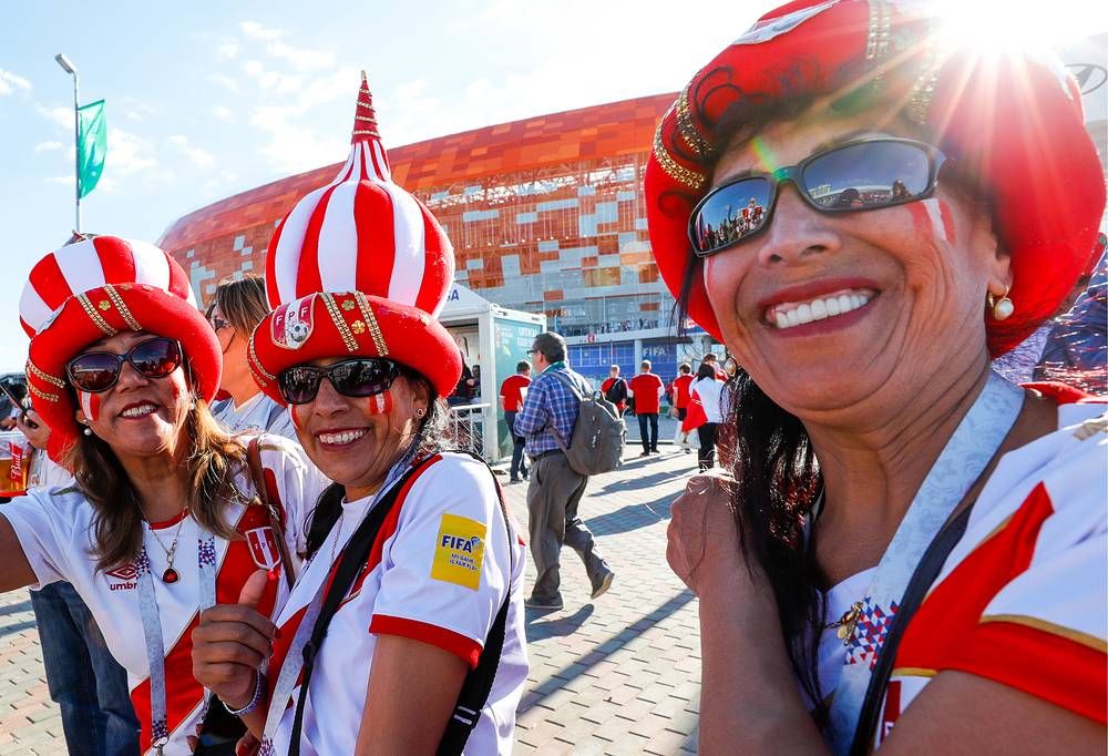 Supporters of the Peruvian football team outside Mordovia Arena Stadium in Saransk