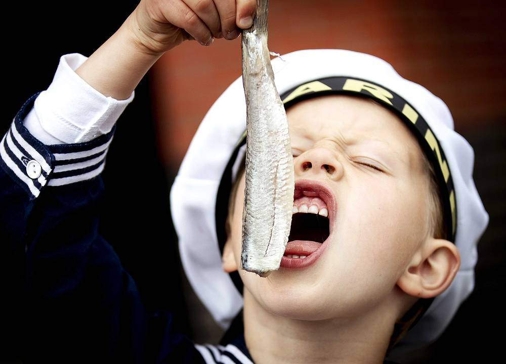 A visitor eats a fish during Vlaggetjesdag (Flagday), the day on which traditionally the new herring is shipped into the harbor of Scheveningen, The Netherlands, June 16