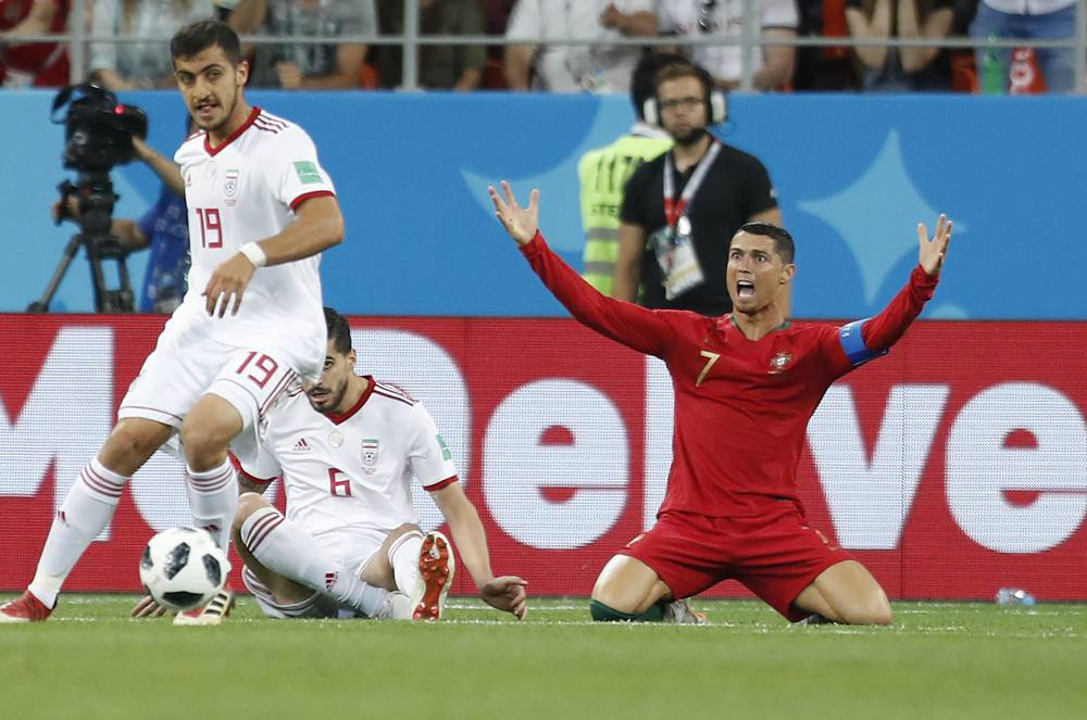 Portugal's Cristiano Ronaldo reacts during the group B match between Iran and Portugal at the Mordovia Arena in Saransk