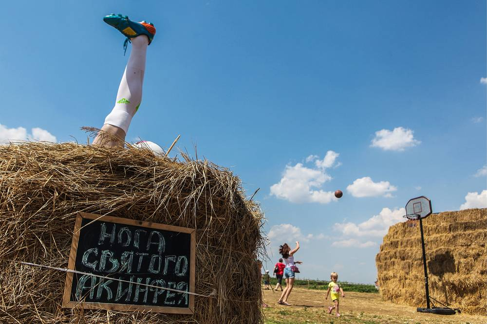 A monument to the left leg of Russian goalkeeper Igor Akinfeev at a field of farmer Roman Ponomarev in the village of Krasnoye, Grachyovak District. This art object celebrates the amazing save Akinfeev made with his leg during a penalty shootout in the 2018 FIFA World Cup match against Spain
