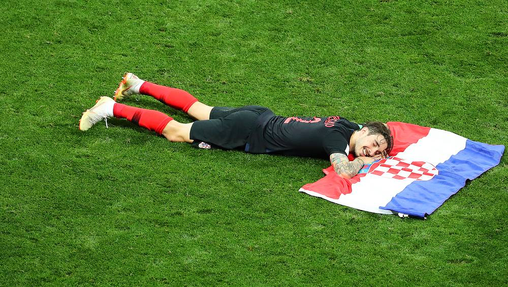 Sime Vrsaljko of Croatia celebrates after the semi final match between Croatia and England in Moscow, July 11. Croatia won 2-1 after extra time