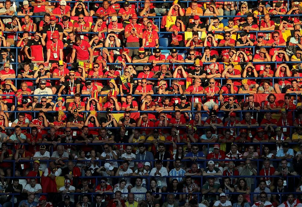 Fans of Belgium seen during the FIFA World Cup 2018 group G preliminary round match between England and Belgium in Kaliningrad, June 28
