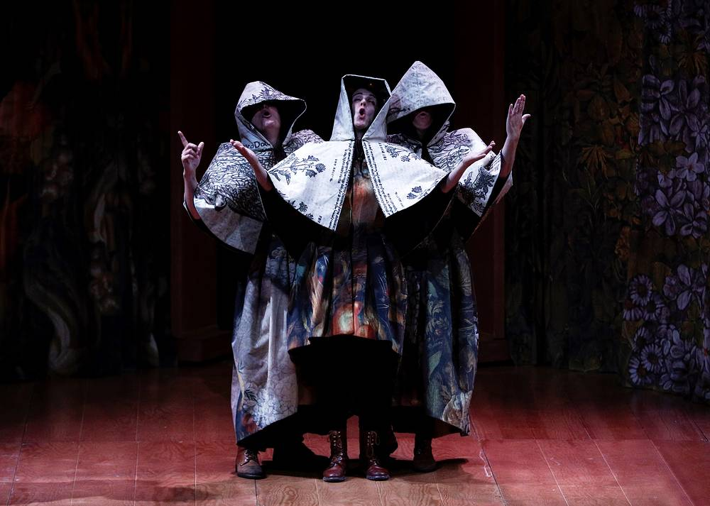 Actors perform the play 'Comedia Aquilana' (Aquilana Comedy), by Spanish Renaisssance playwright Bartolo de Torres Naharro, at the castle of the town Olite, Spain, as part of 19th Olite Theater Festival, July 29