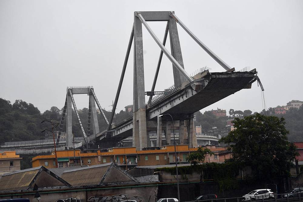 A large section of the Morandi viaduct upon which the A10 motorway runs collapsed in Genoa, Italy