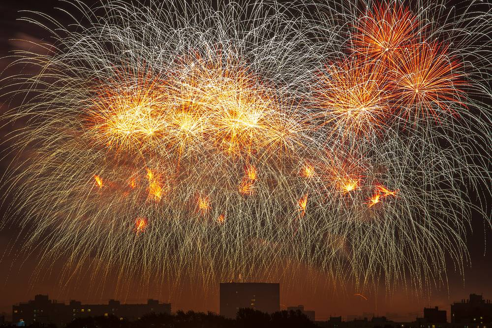 Fireworks at the 2018 Rostec International Fireworks Festival in Moscow's Brateevsky Cascade Park, August 18