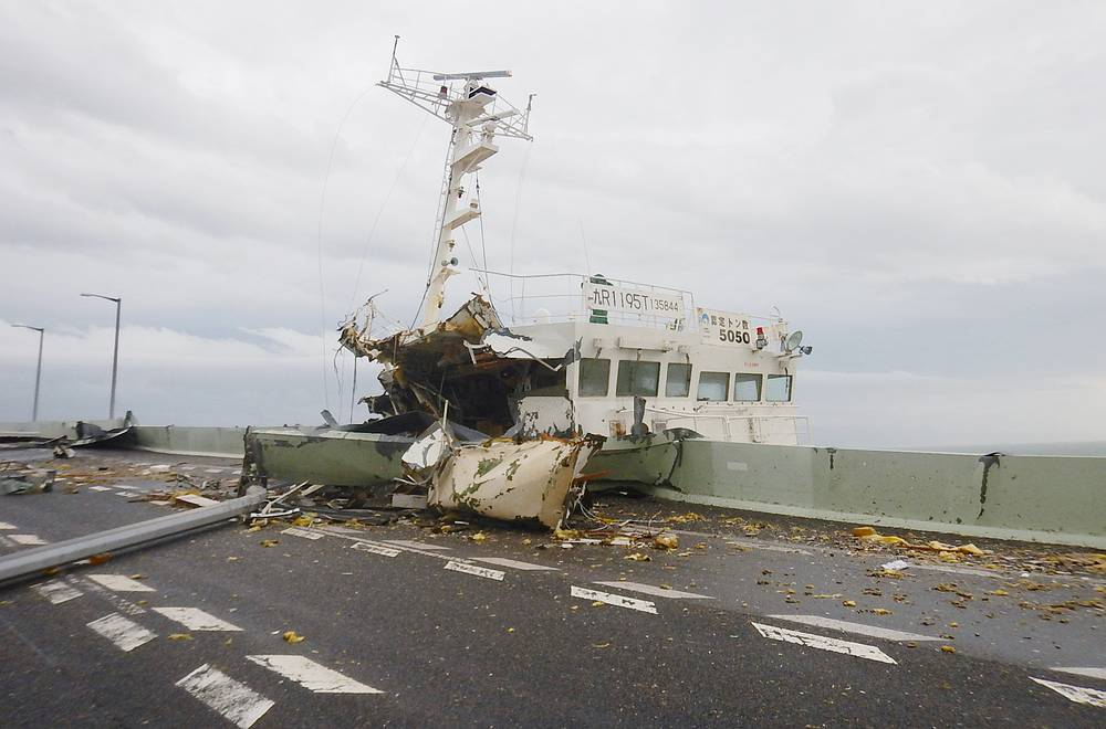 A tanker that crashed into the bridge linking Kansai International Airport with mainland near Osaka