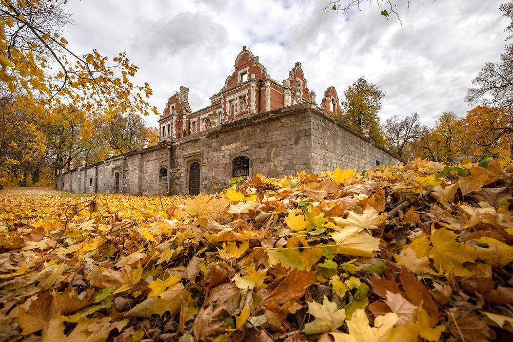 Ruins of the main house and a terrace in the 19th-century estate formerly owned by the Pashkov Family in the village of Vetoshkino, Nizhny Novgorod region