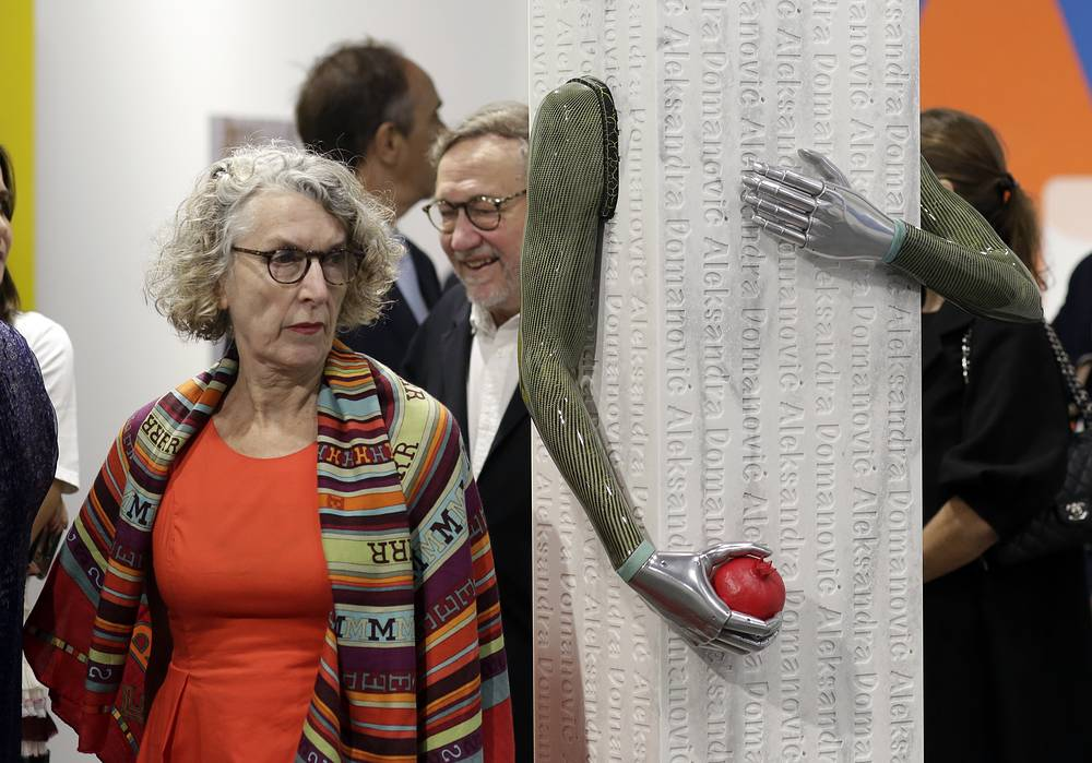 "A sculpture by the artist Aleksandra Domanovic titled ""Pomegranate"""