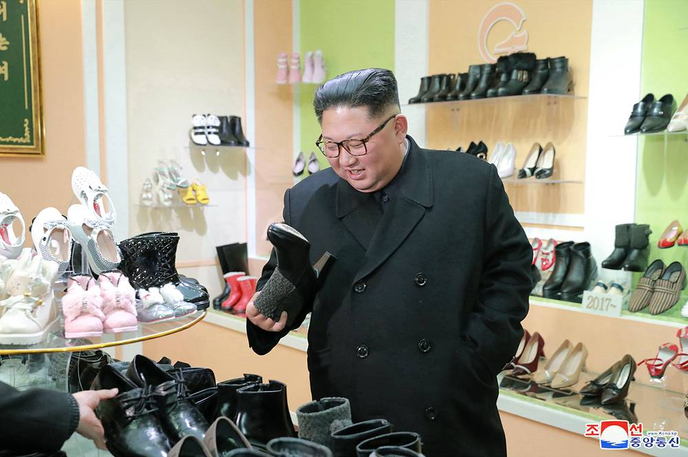 Kim Jong-un, Supreme Leader of the Democratic People's Republic of Korea, inspecting the Wonsan Shoes Factory in Wosan, December 3