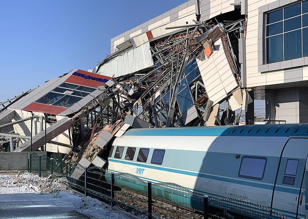 At the site of a railroad collision in Ankara