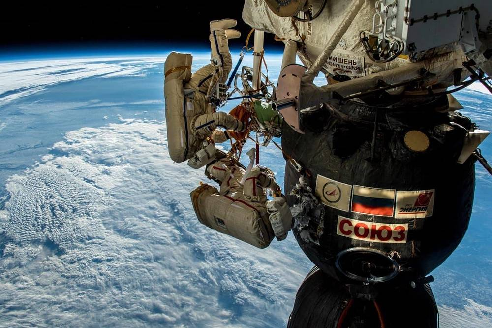 Russian cosmonauts Oleg Kononenko and Sergei Prokopyev conducting a spacewalk outside the International Space Station Space, December 11. The spacewalk's main objective was to inspect a hole on the external surface of the habitation module of the Soyuz MS-09 spacecraft