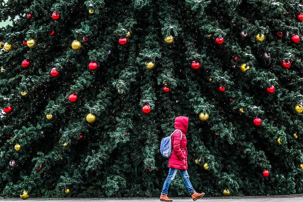 A woman walking past a festively decorated Christmas tree during the Journey to Christmas winter festival