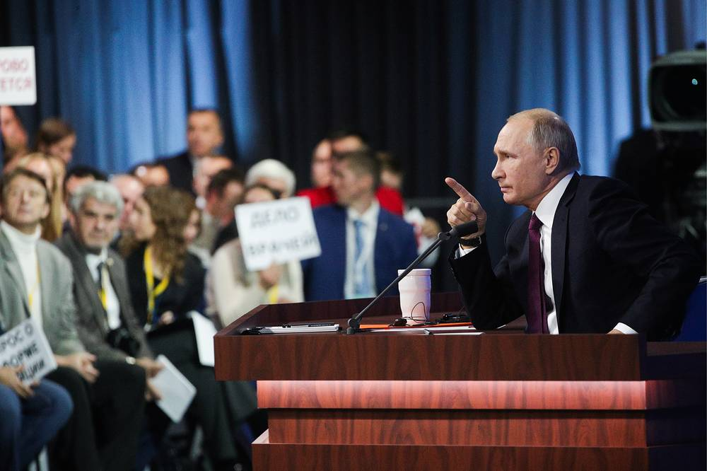This year, the Kremlin said it accredited 1,700 Russian and foreign journalists to the news conference