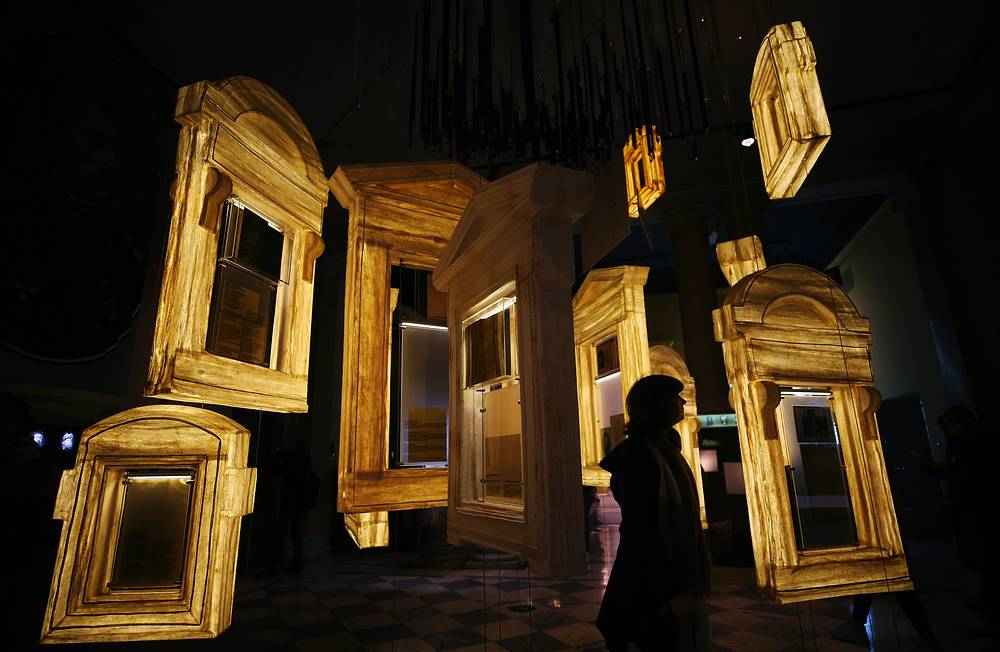 Inside St Petersburg's Russian State Museum of Political History during the annual Night of Museums event, participating art spaces remaining open until late at night to offer exclusive cultural exhibitions and programmes