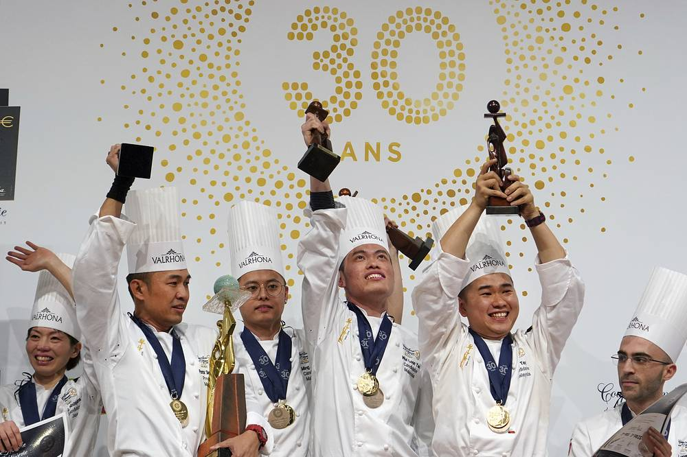 Malaysia team members Patrick Siau Chu Yin, Ming Ai Loi, Wei Loon Tan, and Otto Tay won the World Pastry Cup 2019