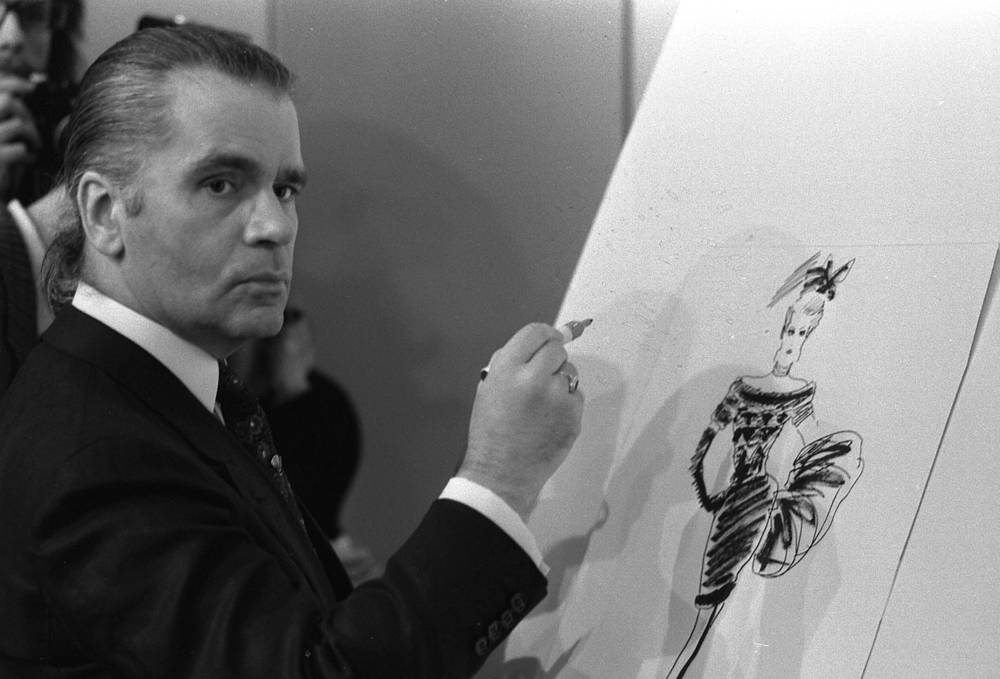 Karl Lagerfeld draws first designs for textile manufacturer Klaus Steilmann in Dusseldorf, Germany, 1987