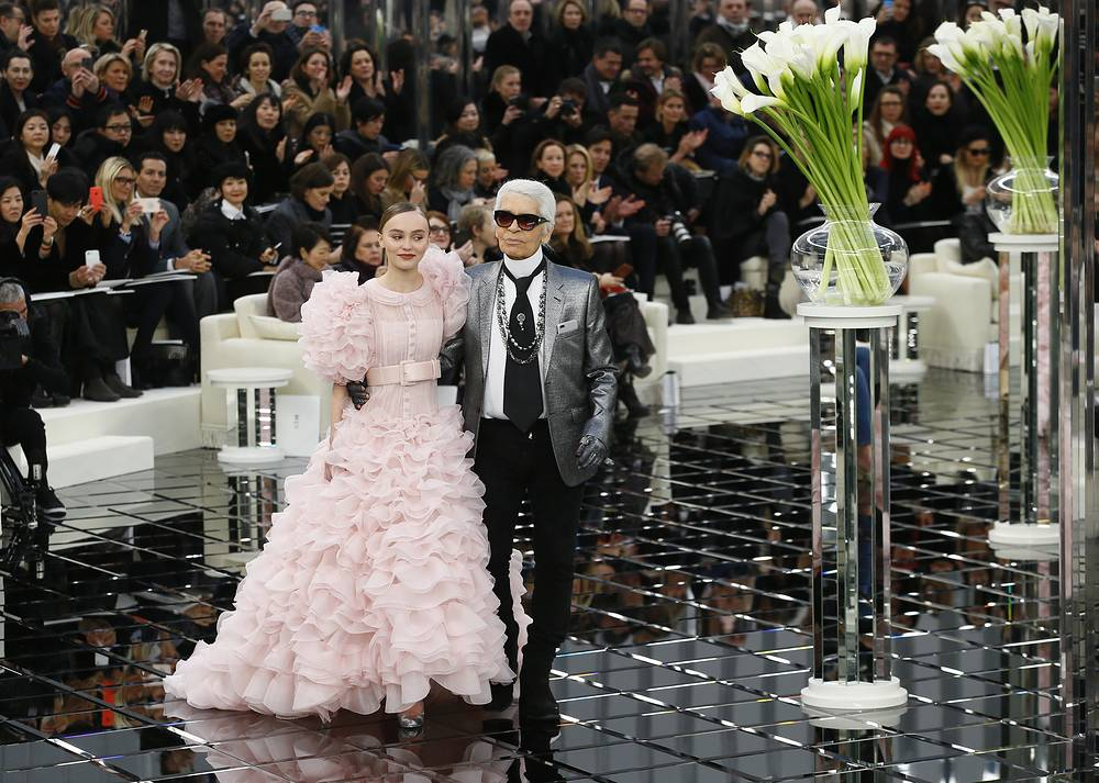 Karl Lagerfeld with Lily-Rose Depp at Chanel Haute Couture Spring/Summer 2017 fashion collection presentation in Paris