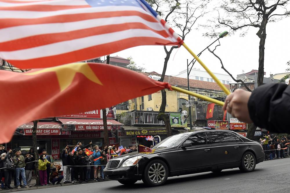Kim Jong Un's motorcade making its way along a street in the capital, Hanoi, Vietnam