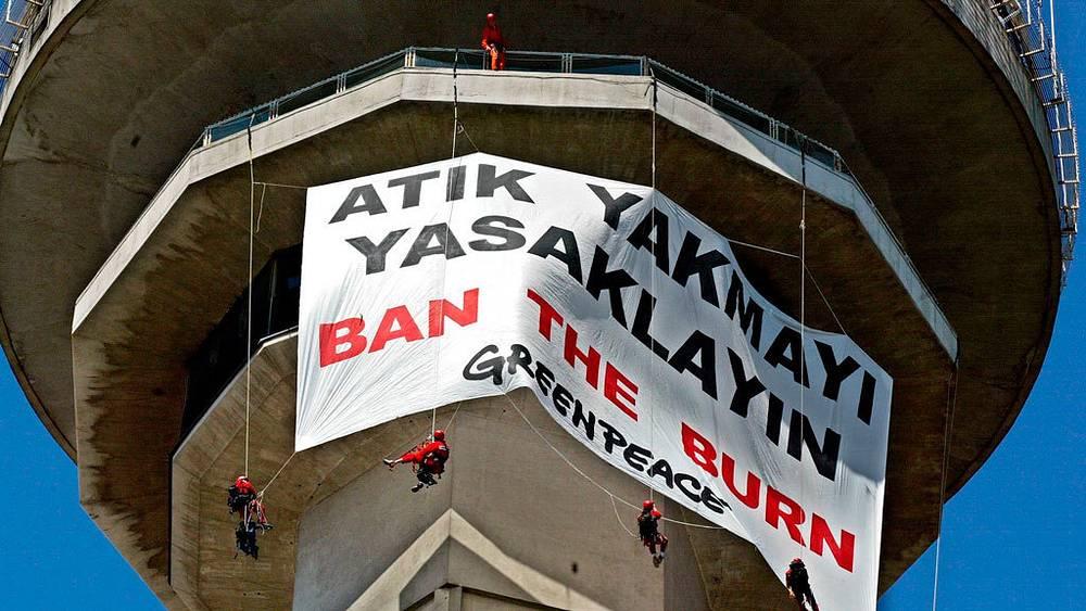 Activists on the 127-meter Atakule tower. Ankara, 2002
