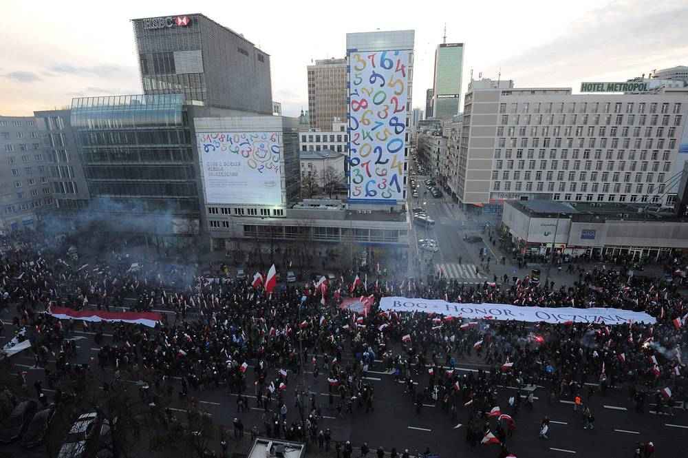 """Участники """"Марша независимости"""" в Варшаве"""