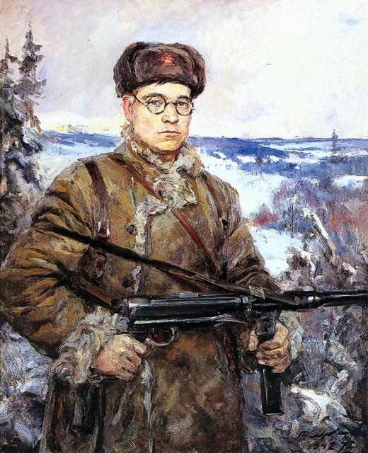 Портрет командира партизанского отряда Д.И.Власова. 1942 г.